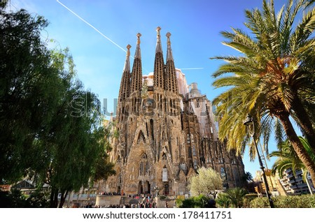 BARCELONA, SPAIN - FEB 2: View of the Sagrada Familia, a large Roman Catholic church in Barcelona, Spain, designed by Catalan architect Antoni Gaudi, on February 2, 2013. Barcelona - stock photo
