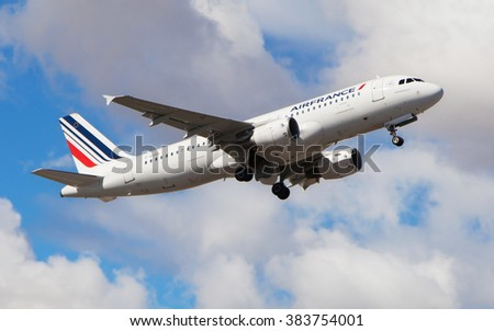 Barcelona, Spain - February 28, 2016: An Air France Airbus A320-214 taking off from El Prat Airport in Barcelona, Spain.
