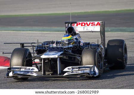 BARCELONA, SPAIN - FEBRUARY 21: Bruno Senna of Williams F1 team races during Formula One Teams Test Days at Catalunya circuit on February 21, 2012 in Barcelona, Spain. - stock photo