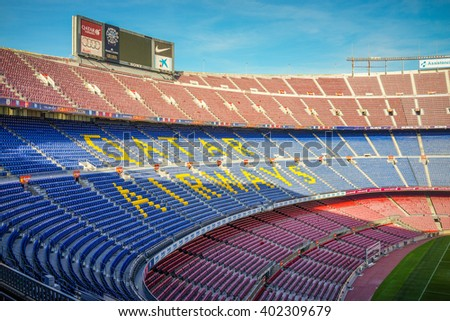 Barcelona, Spain - 5 February 2016: Camp Nou stadium, Official Home of FC Barcelona.