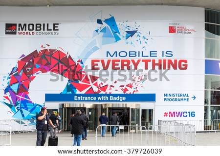 BARCELONA, SPAIN FEBRUARY 21: Every year, tens of thousands of reporters, analysts, and businesspeople attend the Mobile World Congress trade show in Barcelona. February 21, 2016 in Barcelona, Spain