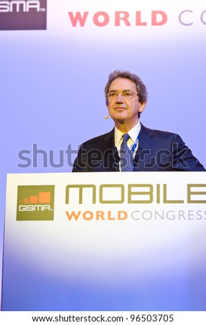 BARCELONA, SPAIN - FEBRUARY 26: Franco Berna, GSMA Chairman and CEO of Telecom Italia Group, speaks at the Opening Keynote of the MWC 2012, on February 26, 2012 in Barcelona, Spain - stock photo
