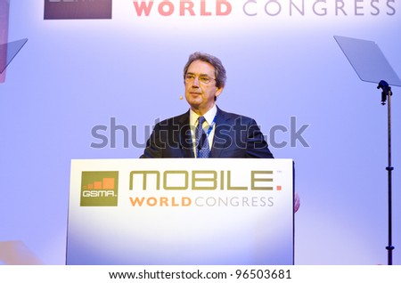 BARCELONA, SPAIN - FEBRUARY 26: Franco Bernabe, GSMA Chairman and CEO of Telecom Italia Group, speaks at the Opening Keynote of the MWC 2012, on February 26, 2012 in Barcelona, Spain - stock photo