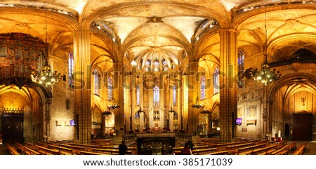 Cathedral interior stock images royalty free images for Catedral de barcelona interior