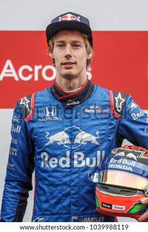 Barcelona, Spain. February 26/March 1, 2018. F1 test for season 2018. Brendon Hartley, Toro Rosso.