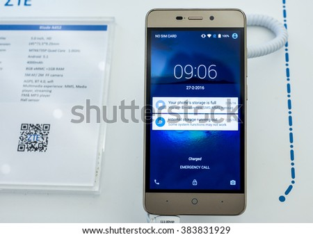 BARCELONA, SPAIN - FEBRUARY 27, 2016: New ZTE Blade A452 presented at Mobile World Centre of Barcelona during Mobile World Congress 2016 in Barcelona, Spain. - stock photo