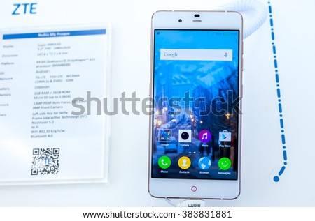 BARCELONA, SPAIN - FEBRUARY 27, 2016: New ZTE My Praque presented at Mobile World Centre of Barcelona during Mobile World Congress 2016 in Barcelona, Spain. - stock photo