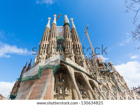 BARCELONA, SPAIN - FEBRUARY 27: Sagrada Familia on a Sunny Day on February 27, 2013 in Barcelona, Spain. Designed by Antoni Gaud���¬, the church is still incomplete.