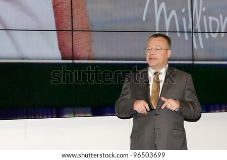 BARCELONA, SPAIN - FEBRUARY 26: Stephen Elop, CEO and President of NOKIA launches the Mobile Worlds Congress 2012 with a press conference, on February 26, 2012 in Barcelona, Spain - stock photo