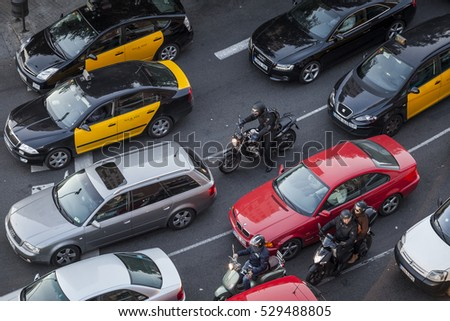 Barcelona, Spain - February 16, 2012: traffic aroung Sants district in the capital of Catalonia