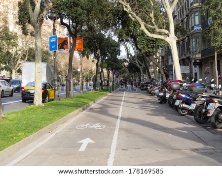 BARCELONA, SPAIN - FEBRUARY 23: View of Barcelona in February 23, 2014 in Barcelona, Spain. Avinguda Diagonal one of broadest and most important avenues at city