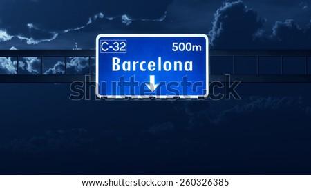 Barcelona Spain Highway Road Sign - stock photo