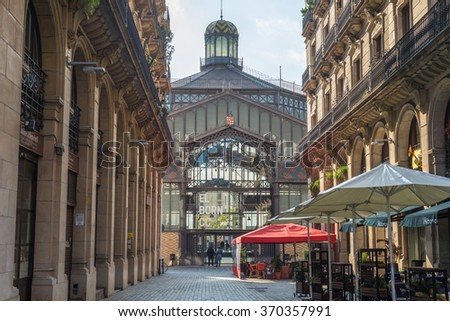 BARCELONA, SPAIN - JANUARY 21. The former public market established the modernisme and is one of the famous buildings, from iron in Barcelona and in the district El Born on January the 21, 2016