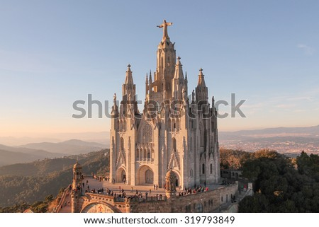 BARCELONA, SPAIN - JANUARY 03, 2015: Tourists visiting Sagrat Cor church on Mount Tibidabo