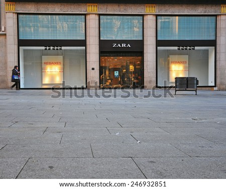 BARCELONA, SPAIN - JANUARY 17: Zara store in Barcelona city centre on January 17, 2015. Barcelona is the capital of Catalonia and second largest city of Spain.