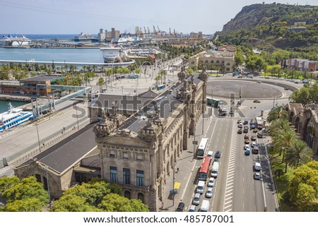 BARCELONA, SPAIN - JULY 4, 2016: Aerial view to Montjuic mountain from Christopher Columbus monument.