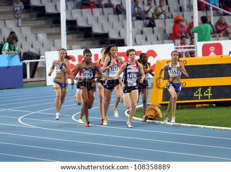 BARCELONA, SPAIN - JULY 14: athlets compete in the 800 meters final on the 2012 IAAF World Junior Athletics Championships on July 14, 2012 in Barcelona, Spain. - stock photo