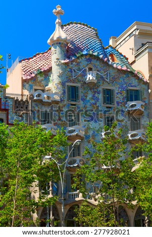 BARCELONA, SPAIN - JULY 17, 2012: Casa Batllo building located in the center of Barcelona and is one of Antoni Gaudi's masterpieces. Was redesigned in 1904 by Gaudi and been refurbished several times. - stock photo