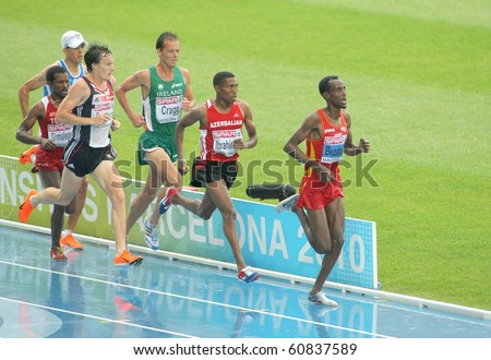 BARCELONA, SPAIN - JULY 29: Competitors of 5000m Men during the 20th European Athletics Championships at the Olympic Stadium on July 29, 2010 in Barcelona, Spain - stock photo