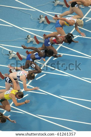BARCELONA, SPAIN - JULY 29: Competitors of 100m Women during the 20th European Athletics Championships at the Olympic Stadium on July 29, 2010 in Barcelona, Spain