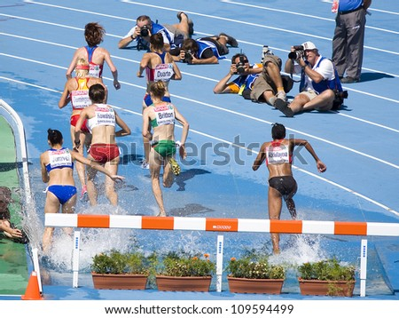 BARCELONA, SPAIN - JULY 28: Competitors of 3000 meters Steeplechase Women Round 1 of the 20th European Athletics Championships at the Olympic Stadium on July 28, 2010, in Barcelona, Spain. - stock photo