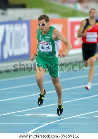 BARCELONA, SPAIN - JULY 28: David Gillick of Ireland competes on the Men 400m during the 20th European Athletics Championships at the Olympic Stadium on July 28, 2010 in Barcelona, Spain.