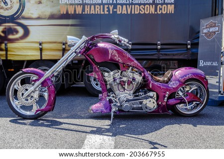 BARCELONA, SPAIN - JULY 05, 2014: Harley Davidson customized for exhibition during BARCELONA HARLEY DAYS 2014 - stock photo