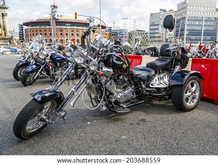 BARCELONA, SPAIN - JULY 06, 2014: Harley Davidson customized for exhibition during BARCELONA HARLEY DAYS 2014