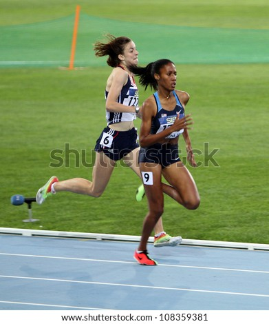 BARCELONA, SPAIN - JULY 14: (L-R) Jessica Judd and Ajee Wilson the winners of the 800 meters final on the 2012 IAAF World Junior Athletics Championships on July 14, 2012 in Barcelona, Spain. - stock photo