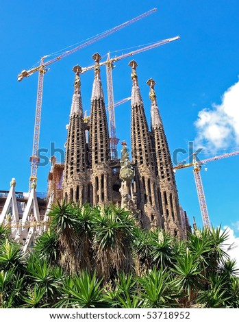 BARCELONA SPAIN - JULY 19: La Sagrada Familia - the impressive cathedral designed by Gaudi, which is being build since 19 March 1882 and is not finished yet July 19, 2009 in Barcelona, Spain.