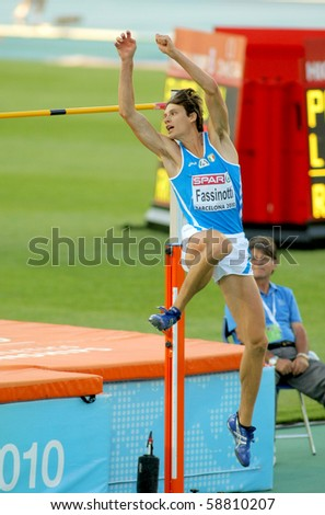 BARCELONA, SPAIN - JULY 27: Marco Fassinotti of Italy competes on the Men High Jump during the 20th European Athletics Championships at the Olympic Stadium on July 27, 2010 in Barcelona, Spain