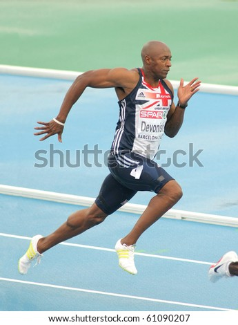 BARCELONA, SPAIN - JULY 29: Marlon Devonish of Great Britain competes on the Men 200m during the 20th European Athletics Championships at the Olympic Stadium on July 29, 2010 in Barcelona, Spain - stock photo