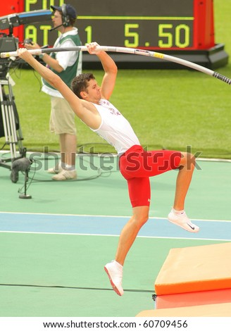 BARCELONA, SPAIN - JULY 29: Mateusz Didenkow of Poland during men Pole Vault of the 20th European Athletics Championships at the Olympic Stadium on July 29, 2010 in Barcelona, Spain