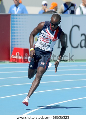 BARCELONA, SPAIN - JULY 27: Michael Bingham of Great Britain competes in the Men 400m during the 20th European Athletics Championships at the Olympic Stadium on July 27, 2010 in Barcelona, Spain.