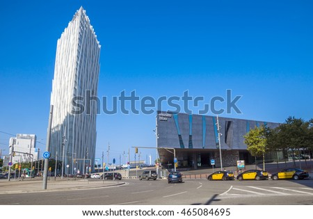 BARCELONA, SPAIN - JULY 12, 2016: New modern architecture in the Diagonal Mar i el Front Maritim del Poblenou area.