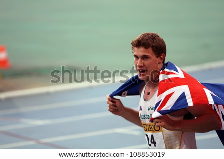 BARCELONA, SPAIN - JULY 12: Nicholas Hough from Australia celebrates silver medal of 110 meters hurdles final on the 2012 IAAF World Junior Athletics Championships on July 12, 2012 in Barcelona, Spain - stock photo