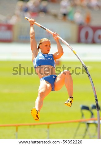 BARCELONA, SPAIN - JULY 28: Nikoleta Kiriakopoulou of Greece during Women Pole Vault of the 20th European Athletics Championships at the Olympic Stadium on July 28, 2010 in Barcelona, Spain - stock photo