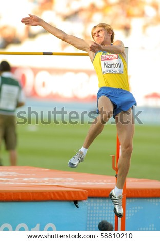 BARCELONA, SPAIN - JULY 27: Oleksandr Nartov of Ukraine competes on the Men High Jump during the 20th European Athletics Championships at the Olympic Stadium on July 27, 2010 in Barcelona, Spain