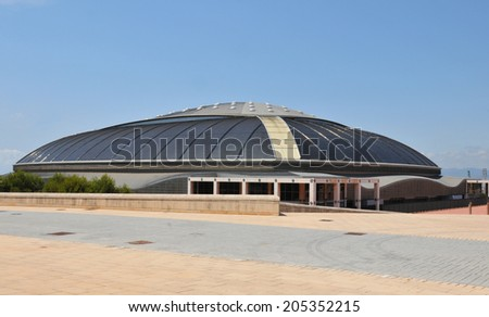 BARCELONA, SPAIN - JULY 08, 2012: Palau Sant Jordi (St. George's Palace) is an indoor sporting arena part of the Olympic Ring complex located in Montjuic district of Barcelona