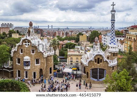 BARCELONA, SPAIN - JULY 3, 2016: Park Guell in Barcelona. Park Guell (1914) is the famous architectural town art designed by Antoni Gaudi.