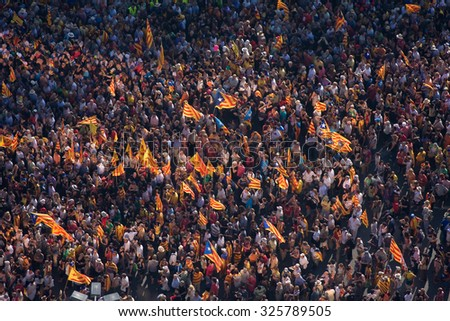 BARCELONA, SPAIN - JULY 10: Up to a million people converge on Barcelona to join a rally demanding independence for Catalonia, on July 10, 2010, in Barcelona, Spain.