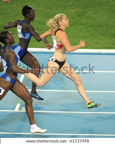 BARCELONA, SPAIN - JULY 29: Verena Sailer of Germany competes on the Women 100m during the 20th European Athletics Championships at the Olympic Stadium on July 29, 2010 in Barcelona, Spain - stock photo