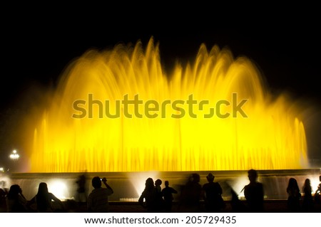 BARCELONA, SPAIN - JUN 15, 2014: Lights, colors and music spectacle at night, located in magic fountains situated in Montjuic mountain.