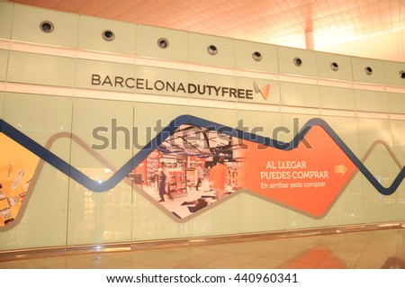 BARCELONA, SPAIN - JUN 16: The Duty free shops inside the Barcelona airport  Barcelona-El Prat Airport is an international airport. It is the main airport of Catalonia, June 16, 2016  - stock photo