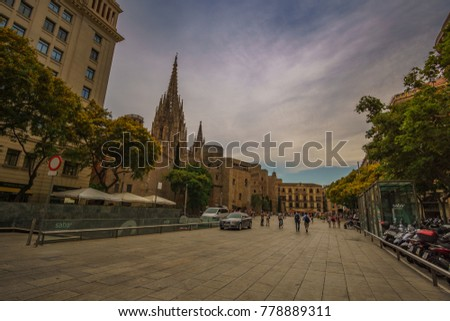 BARCELONA, SPAIN - JUNE 2017: Architectural buildings and streets around the famous Gothic quarter in Barcelona city. Urban photography in Spain, Europe