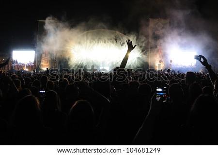 BARCELONA, SPAIN - JUNE 2: Audience at San Miguel Primavera Sound Festival on June 2, 2012 in Barcelona, Spain. - stock photo