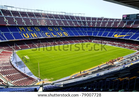 BARCELONA, SPAIN - JUNE 5: Camp Nou, Stadium of Football Club Barcelona on June 5, 2010 in Barcelona, Spain. - stock photo