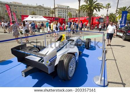BARCELONA, SPAIN - JUNE 7: Formula E Spark - Renault SRT 01E at 6to6 Barcelona Motordays, an automotive feast of supercars and luxury brands, on June 7, 2014, in Moll de la Fusta, Barcelona, Spain. - stock photo