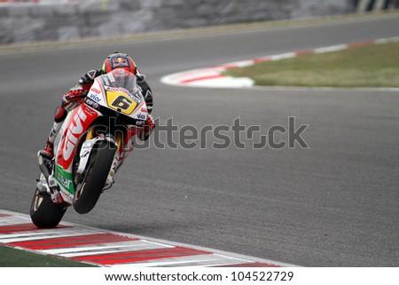 BARCELONA - SPAIN, JUNE 3: Honda rider Stefan Bradl at 2012 Aperol MotoGP of Catalunya at Montmelo circuit on june 3, 2012 Barcelona - stock photo