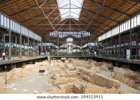 BARCELONA, SPAIN - JUNE 25. Inside Mercat del Born in the Barcelona district La Ribera on June 25, 2015. The market is famous. Extensive ruins of the medieval from different periods are exhibited - stock photo